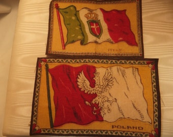 Early 1900's Cigarette Tobacco Felt Flags Inserts Italy and Poland cloth vintage pair