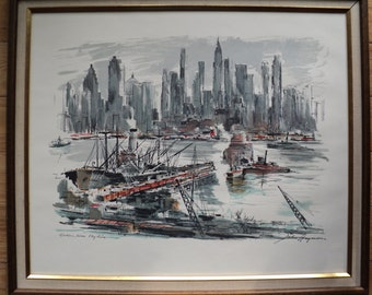 Retro Mid Century Modern Hudson River Skyline, A Fine Lithographic Print  by The Artist  John Haymson in Very Good Condition, ready to hang