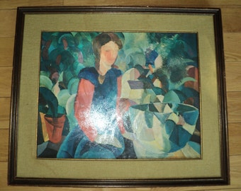 """Retro Cubist Expressionist Artwork of August Macke's """"Girl With Bowl"""" German Expressionist, Lithographic Print on Heavy Cardboard Paper"""