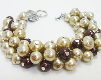 Pearl Bracelet, Champagne and Brown Pearl Cluster Bracelet, Taupe Bridal Jewelry, Wedding Bracelet, Chunky Bracelet, Custom Made Jewelry