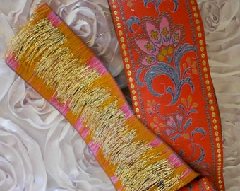 Red Floral Ethnic Motif Trim