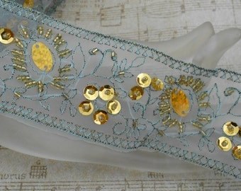 Teal Gold Sequined Floral Trim