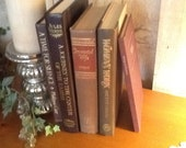 Vintage Brown Book Collection, Metallic Gold Lettering - home decor, weddings, props - REDUCED