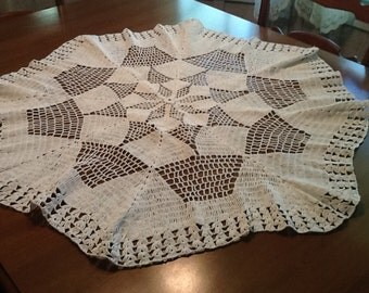 Large, vintage, crocheted Table topper, Doily, white