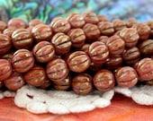 8mm Glass Melon Beads, Czech Glass Melon Beads, Opaque Rose/Gold Topaz Luster Beads CZ-151