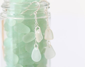 Sea Glass & Sterling Silver Earrings - Free Shipping