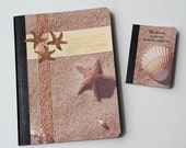 Starfish and Shell Journals, Set of 2 Beach Notebooks in Different Sizes, Altered Composition Books, Inspirational Words, Memory Keeper