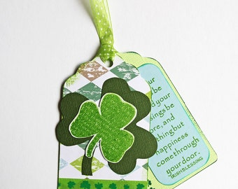 Irish Blessing Tags, Set of 15 Double Tags with Shamrock, May Your Troubles Be Less, St. Patrick's Day, Handmade Irish Holiday Favor Tags