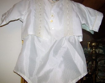 Vintage 1950s Baby Boy Christening, Baptismal Outfit 3 pc
