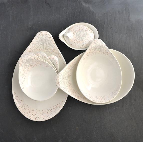 eva zeisel dinnerware hallcraft dawn pattern vintage by