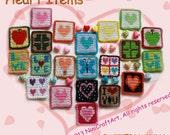 Coasters, Crochet Hearts.( PDF only )