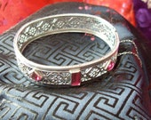 rhodium plated garnet glass bangle bracelet ... filigree ...  edwardian, 1920, 1930, flapper, Downton Abbey ... silver, ruby, red