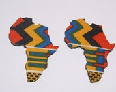 Large Stud Africa Earrings Fabric Covered Wood Earrings Afrocentric Jewelry