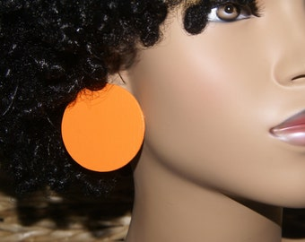Large Stud Earrings - Orange 2 Inch