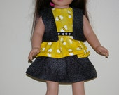 3 piece outfit of black and white dotted skirt and vest and yellow bee print top for 18 inch dolls