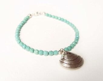 Genuine Turquoise Bead Bracelet,Sterling Silver Shell Bracelet, Beach Bracelet, Turquoise Jewelry UK