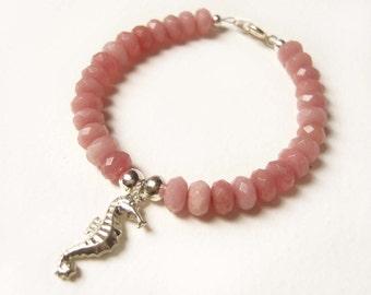 Silver Seahorse Bracelet, Pink Ruby Bracelet, Semi Precious Bead Bracelet, Beach Jewelry UK