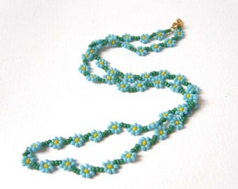 Daisy Chain Necklace, Forget Me Not Necklace, Blue Flower Necklace, Beaded Jewelry UK