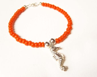 Silver Seahorse Bracelet, Neon Orange Bracelet, Beaded Bracelet, Seahorse Jewelry, UK Seller