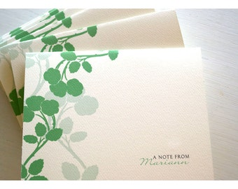 Apple Blossom Silhouette Personalized Stationery Note Card Set - Silhouette Branch Flowers Note Set - Apple Cherry Flower Note Cards
