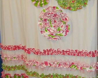 Shower Curtain Custom Made Designer Fabric Ruffles and Flowers Pink,Chartreuse  Lime Green, White Tulle Cute
