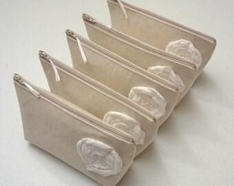 Set of 11 - Bridesmaid Clutch Purse, Linen, Bridesmaids Gift, Wedding