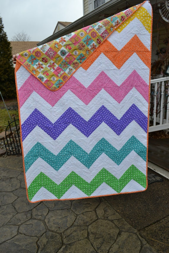 Modern Quilt Chevron Rainbow Colored Funky Dotted Spotted Bright Lap ...