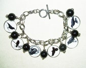 CROW Raven BLACK BiRD Charm Bracelet Altered Art Jewelry Silver Plated Free USA Shipping