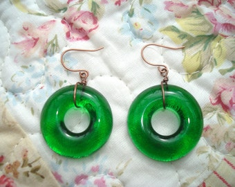 Beer Bottle Dangly Earrings Beer Gifts Green Eco Gifts Pilsner Urquel Boho Fashion OOAK