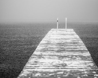 8x10 Black and White Nature Photograph, Modern Lake House Decor, Rain Photography, Ocean Print, Rustic Dock Photo