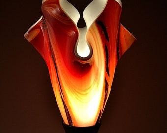 Modern Fused Glass Table Lamp - Godiva with Silver