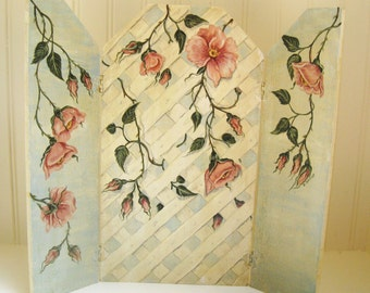 Roses Triptych Painting Shabby Pink Roses White Cottage Home Decor Original Art Folding Tabletop Screen Display Prop OOAK