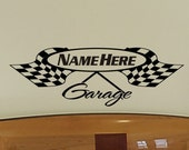 Boys Room Wall Decal Personalized Garage Checkered Flag Wall Decal Racing Flag Decal Racing Theme Man Cave Removable Decoration Single Color