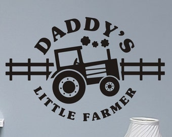 Boys Bedroom Wall Decal Daddys Little Farmer  with Tractor Boys Bed Room Wall Sticker Nursery Vinyl Lettering Removable Wall Decor Playroom