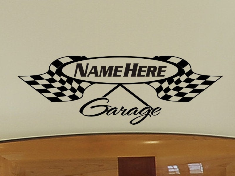 Boys Room Wall Decal Personalized Garage Checkered Flag Wall - Custom vinyl wall decals for garage