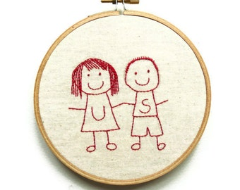 "Hand Embroidered Cute Couple Hoop Art - ""Us"""