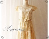 Princess in Fairy Tale Lace Dress Cream Lacey Party Wedding Tea Party Dress Vintage Inspired Dress
