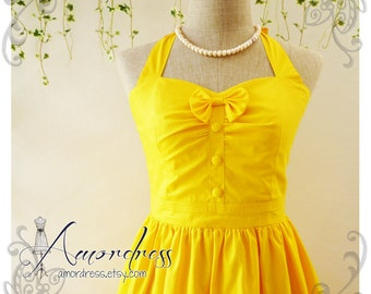 The Goddess Sunshine Yellow Sundress Dress Vintage Inspired Party Dress Halter Dress Bridesmaid Wedding Dress -Size XS, S, M, L, XL,CUSTOM-