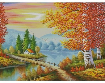 Instant Download Counted Cross Stitch Chart PDF Pattern N40ld - Golden Autumn