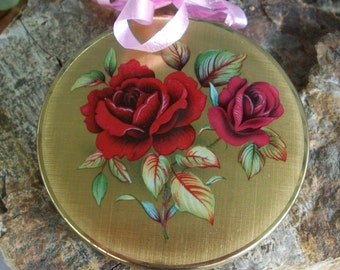 Stratton vintage compact case with roses made in England mid century
