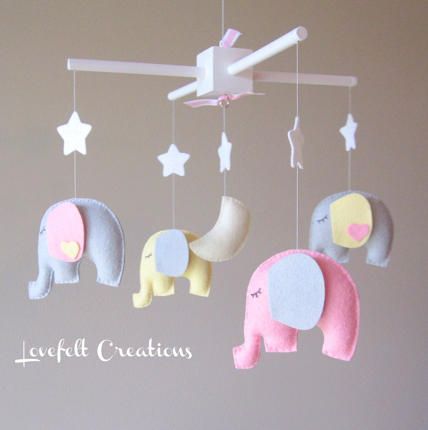 baby mobile elephant mobile baby girl mobile nursery. Black Bedroom Furniture Sets. Home Design Ideas