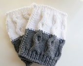 Knitted Cabled 2 in 1 Boot Cuffs Leg Warmers in Heather Gray and White