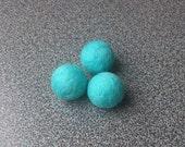 Handmade beads set of 3 turquoise needle felted merino wool balls