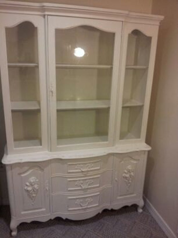 French Shabby Chic Cottage Chic Distressed Hutch Bedroom hutch Linen closet Dining hutch
