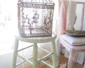 Vintage rusty ornate metal birdcage shabby chic prairie cottage chic