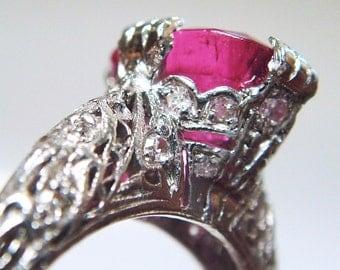 REDUCED!!  Platinum Pink Tourmaline & Diamond Encrusted Filigree Ring