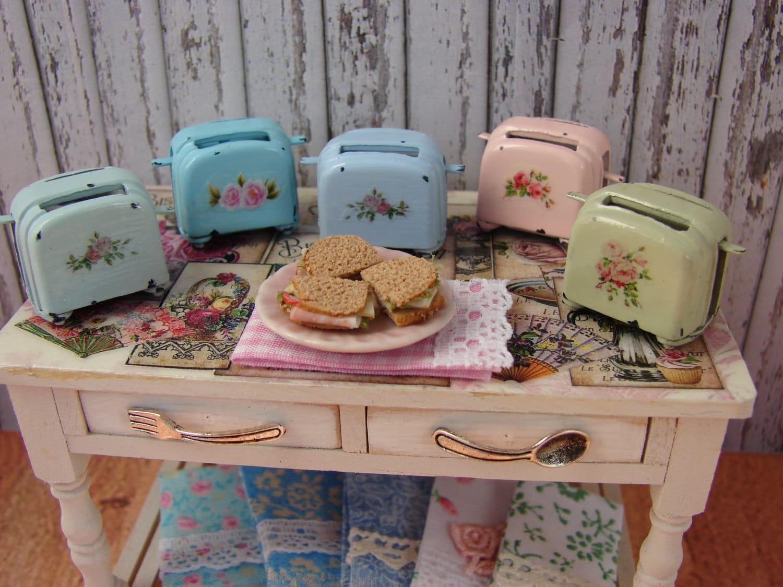 Dollhouse miniature shabby chic farmhouse vintage toaster with for Shabby chic farmhouse