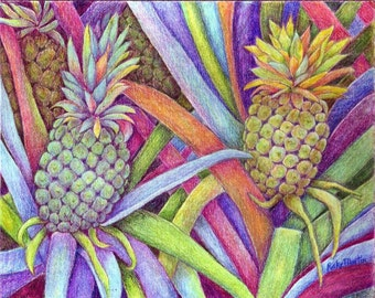 Pineapples, Fruit, Food, Housewarming, Dining, Kitchen  Decor - Original Fine Art Colored Pencil Painting - FREE SHIPPING -  Ricky Martin