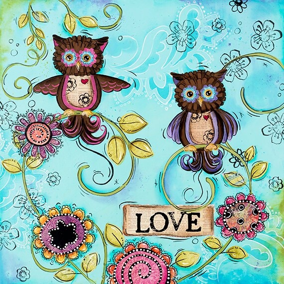 Owl Wall Art ~ Childrens Wall Art ~ Owls Decor ~ Funky Whimsical ~ Girls Wall Art Print ~ Bathroom Wall Art ~ Tween Teen Room Art ~ Flowers