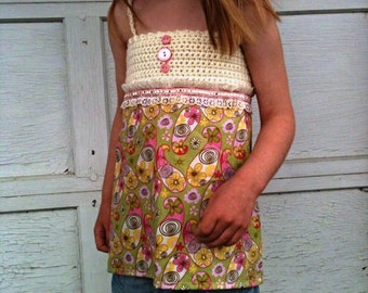 Girls Halter top, green & pink, summer top, crochet top